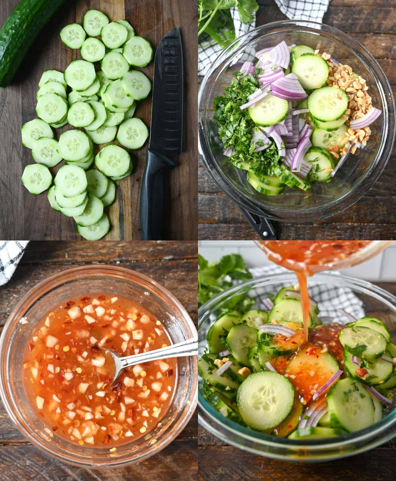 Four process photos. First one, sliced cucumbers on a cutting board. Second one, sliced cucumbers, red onions, peanuts and cilantro all in a bowl ready to be mixed. Third one, sauce mixture all mixed together in a small bowl. Fourth one, sauce being poured on top of the salad.