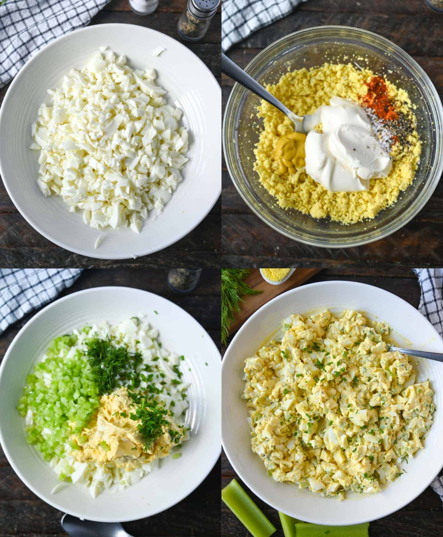 Four process photos. First one, chopped up egg white placed into a white bowl. Second one, mashed egg yolks with mayo and spices ready to mix in. Third one, celery, chives and dill ready to min into the creamy yolks. Fourth one, egg salad all mixed together.