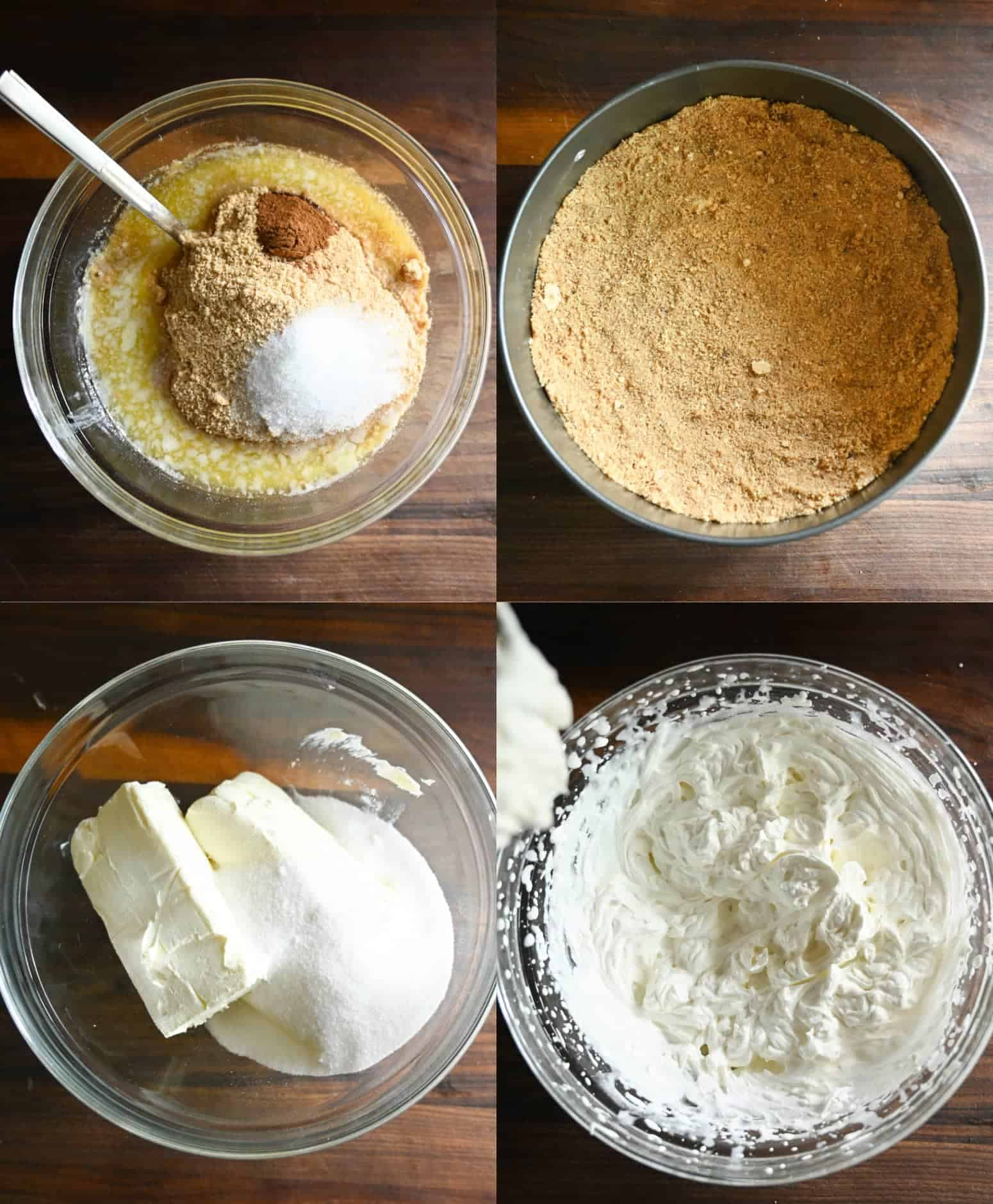 Four process photos. First one, all the crust ingredients added into a bowl with a spatula. Second one, crust that has been pressed into a spring foam pan. Third one, cream cheese and sugar in a large clear bowl. Fourth one, filling all ixed together and ready to go into the crust.