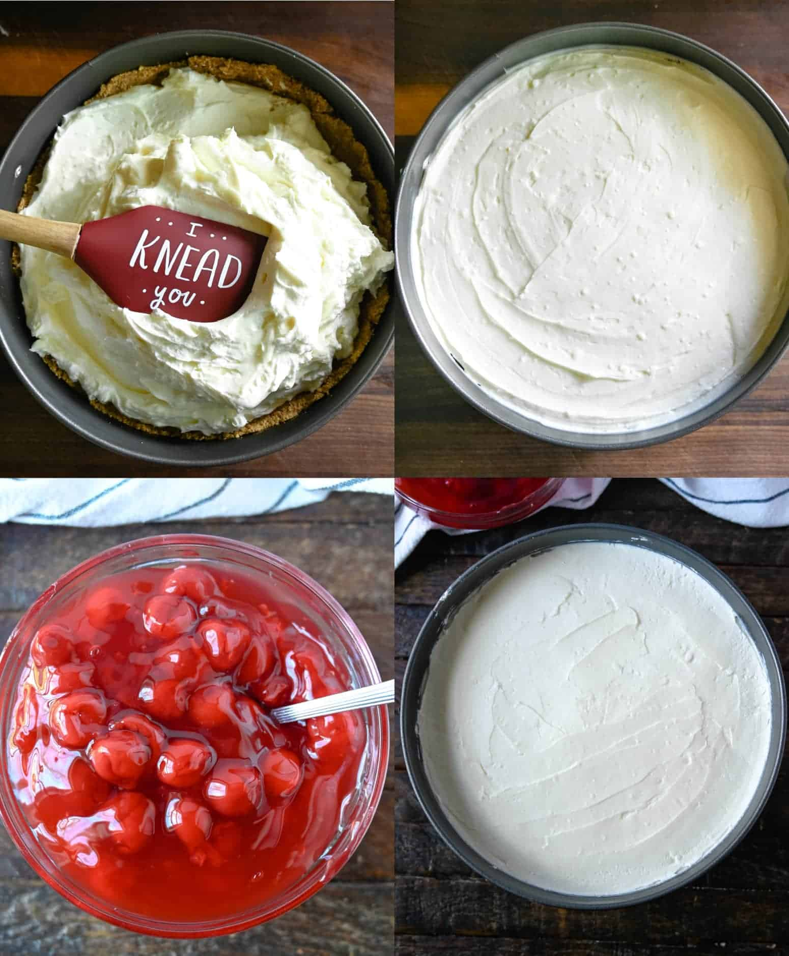 Four process photos. First one, cheesecake filling being spread into graham cracker crust. Second one, filling all spread into the spring foam pan. Third one, a bowl of canned cherries. Fourth one, cheesecake chilled and ready to decorate.