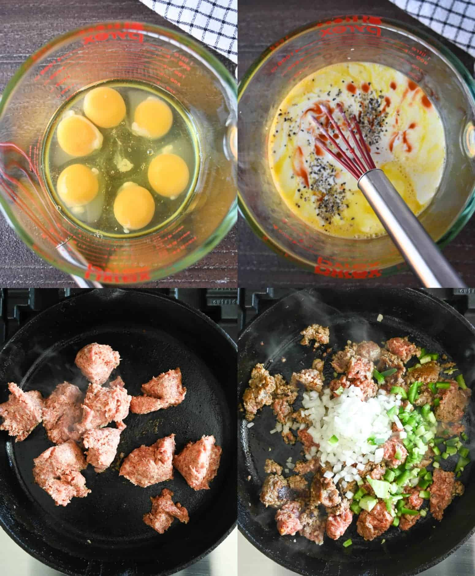 Four process photos. First one, eggs in a small clear bowl. Second one, eggs whisked together with milk and hot sauce. Third one, raw sausage placed in a hot skillet. Fourth one, diced onions and peppers placed on top of the ground sausage.