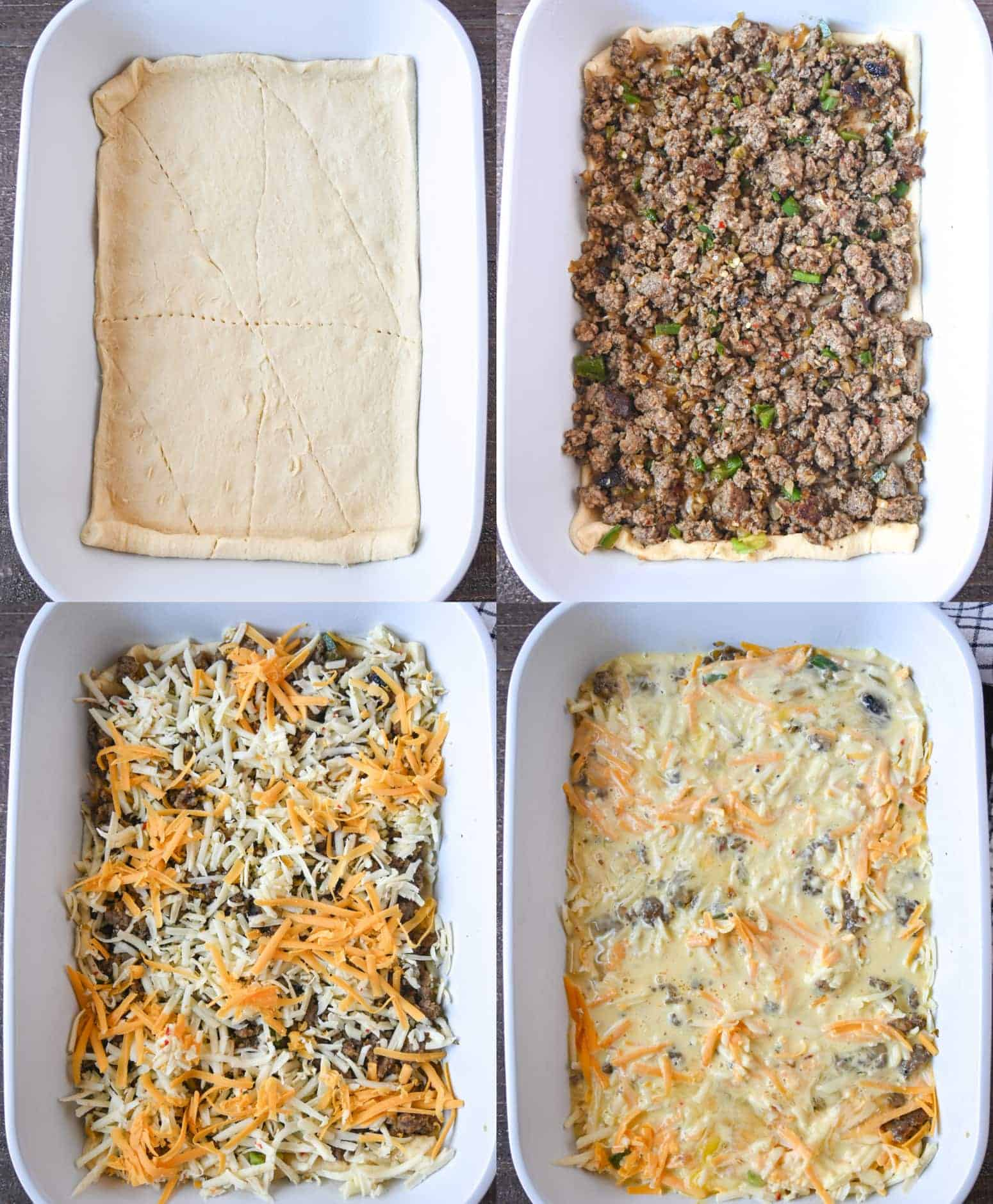 Four process photos. First one, crescent dough rolled out into the bottom of a baking dish. Second one, cooked sausage, onions and jalapenos placed on top of the crescent dough. Third one, shredded cheese sprinkled on top. Fourth one, egg mixture poured on top.