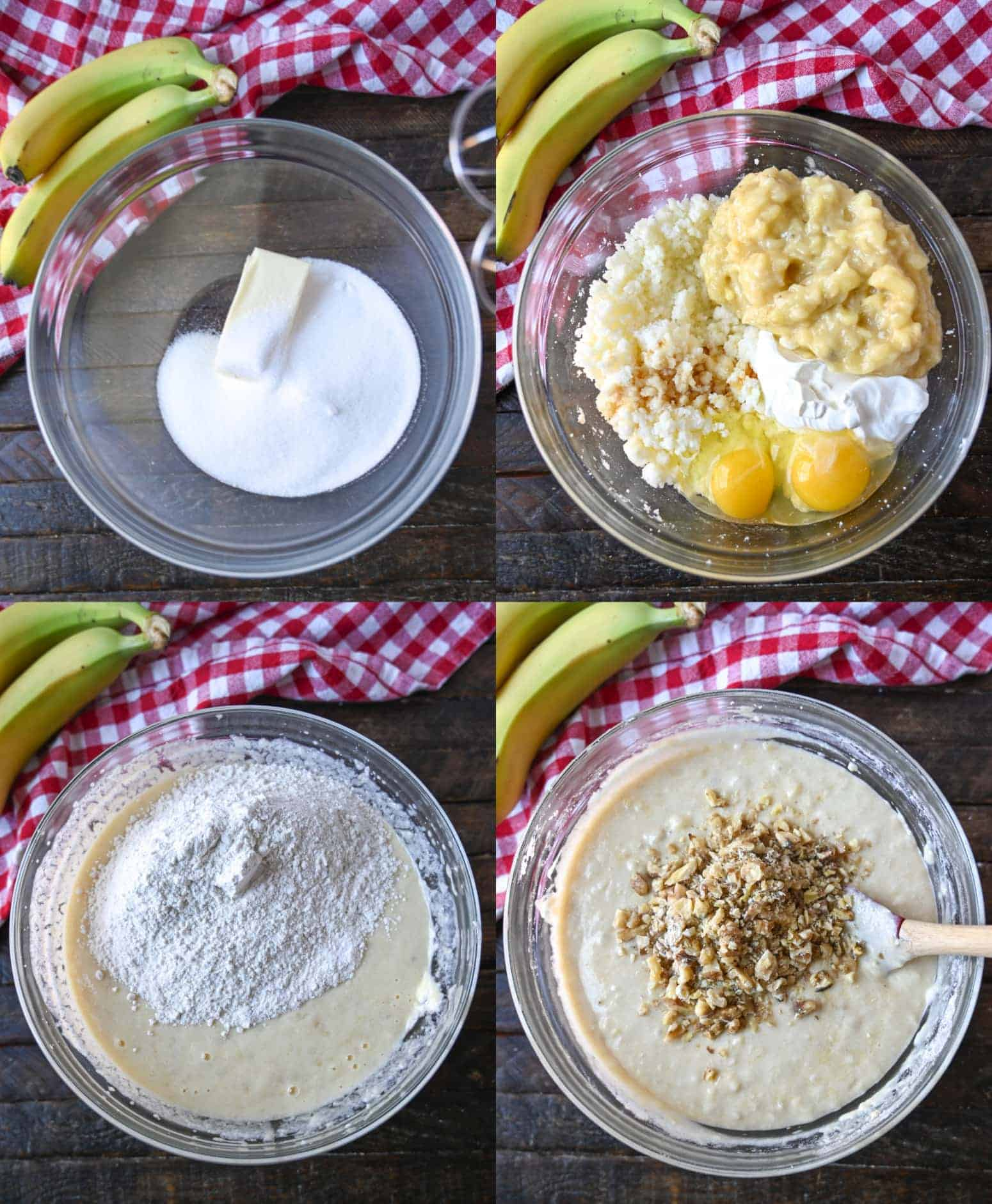 Four process photos. First one, gugar and butter in a bowl. Secone one, the rest of the wet ingredients placed on top. Third one, dry ingredients placed on top of the mixed wet. Fourth one, chopped walnuts placed on top and ready to be folded into the batter.
