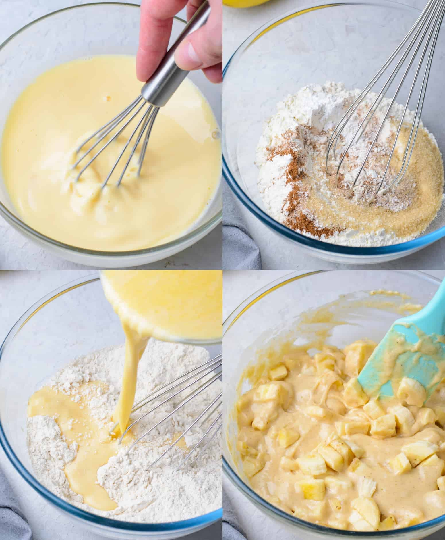 Four process photot. First one, all the wet ingredients mixed together with a whisk. Second one, all the dry ingredients whisked together. Third one, wet ingredients being poured into the dry ingredients. Fourth one, bananas add into the batter.