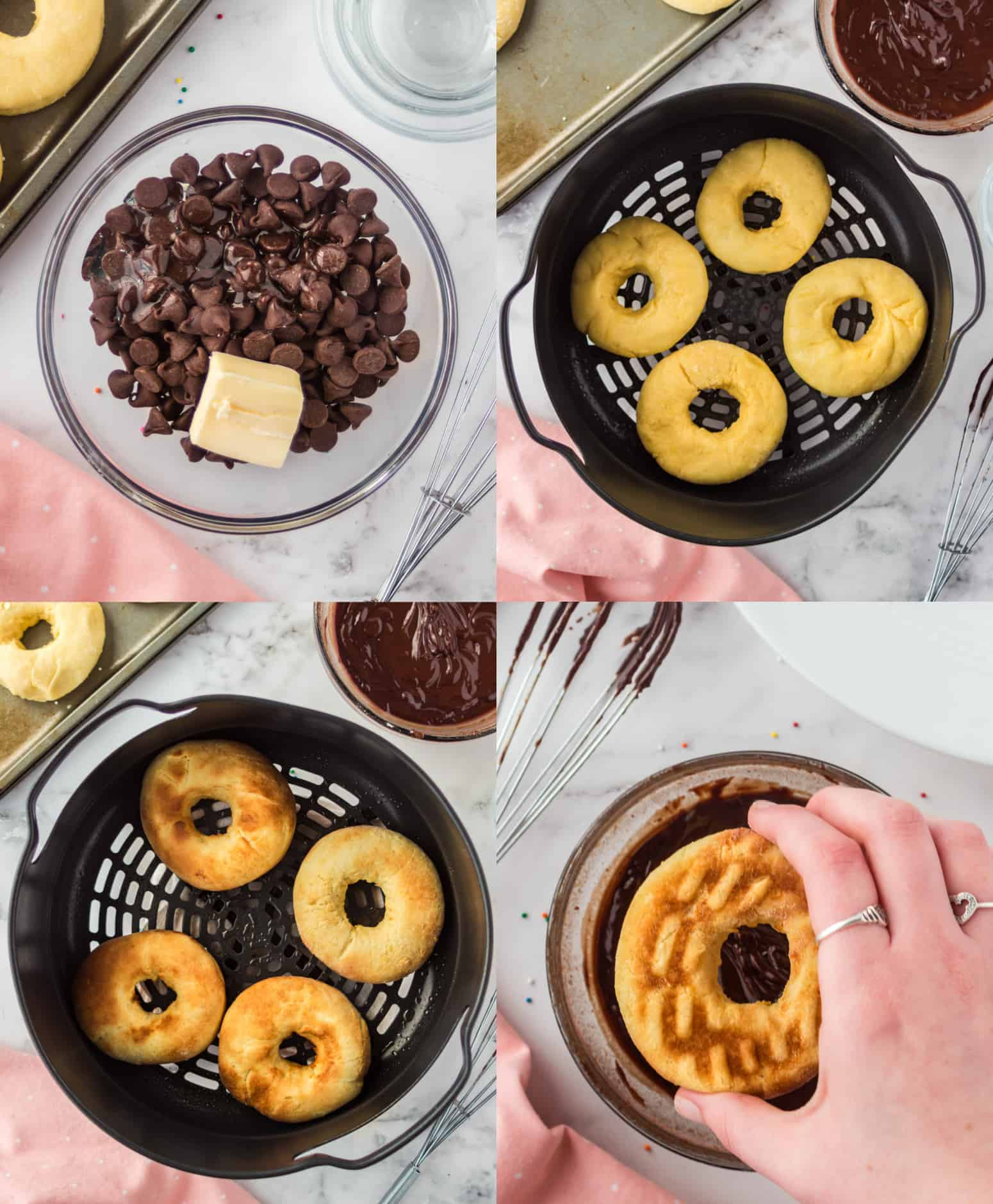 Four process photos. First one, chocolate chips and butter in a small bowl ready to be melted. Second one, four donuts placed in the air fryer basket. Third one, donuts that are done cooking. Fourth one, A donuts being dipped in melted chocolate.