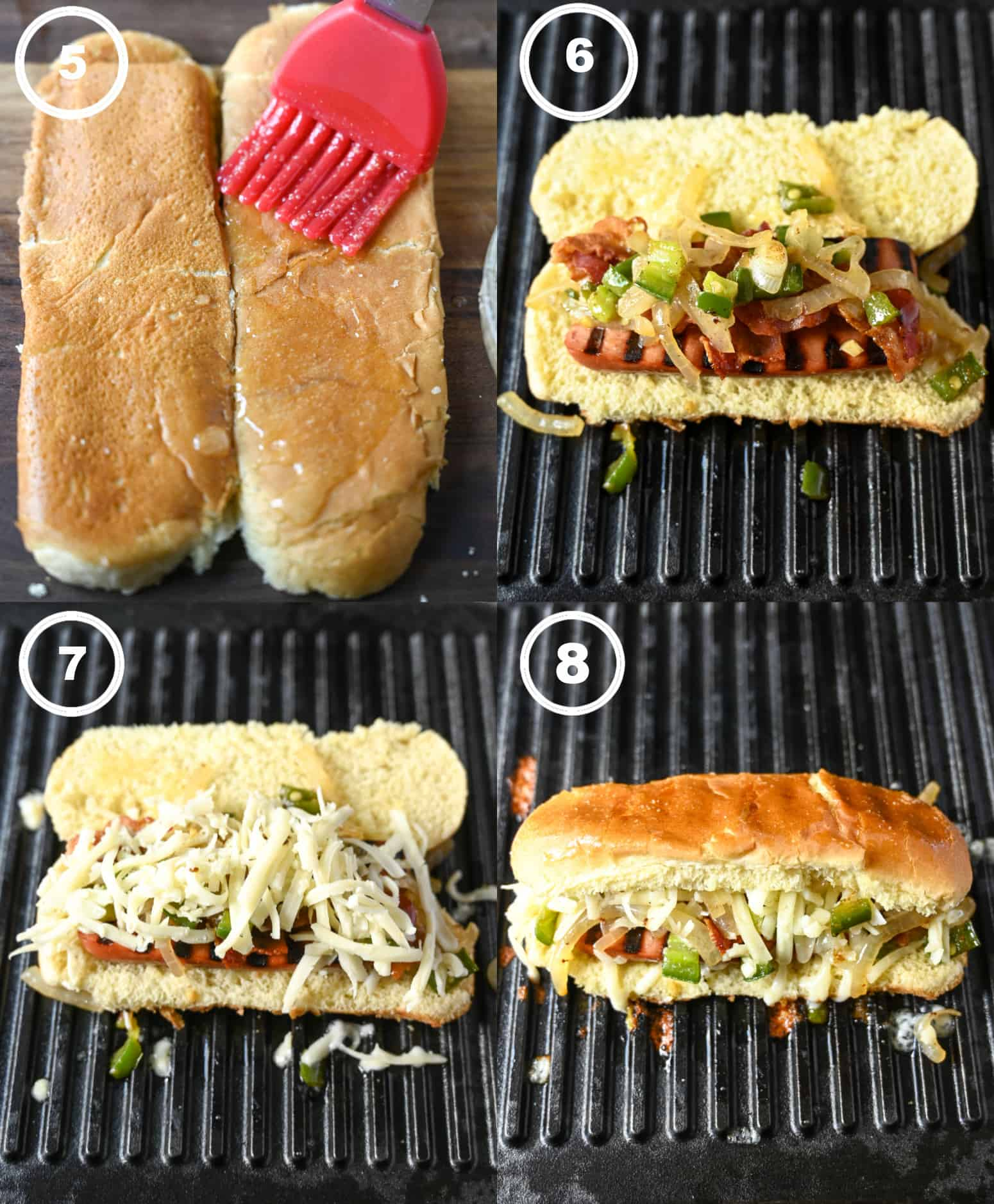 Four process photos. First one hotdog bun that has been flattened and garlic butter is being brushed on. Second one, hot dog, onions and bacon is put on top of the bun and placed on the grill pan. Third one, cheese is then put on top. Fourth one, bun is closed and ready to be flipped.