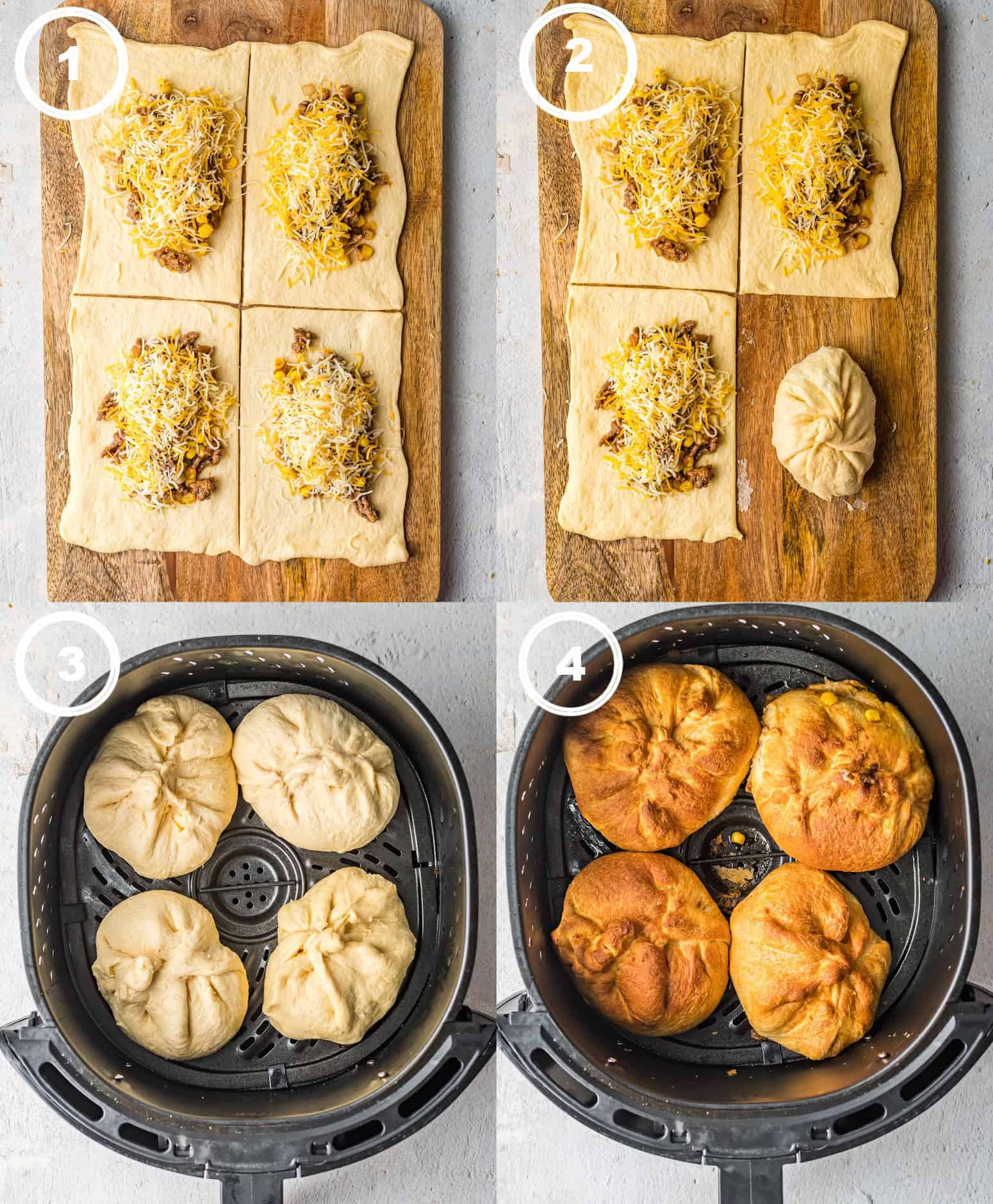 Four process photos. First one, crescent dough cut into four pieces and a scoop of taco meat and cheese on each square. Secone one, one square that has been twisted and ppinched into a square. Four taco stuffed dough balls placed into an air fryer. Fourth one, four doiugh balls that have been air fried and cooked to perfection.