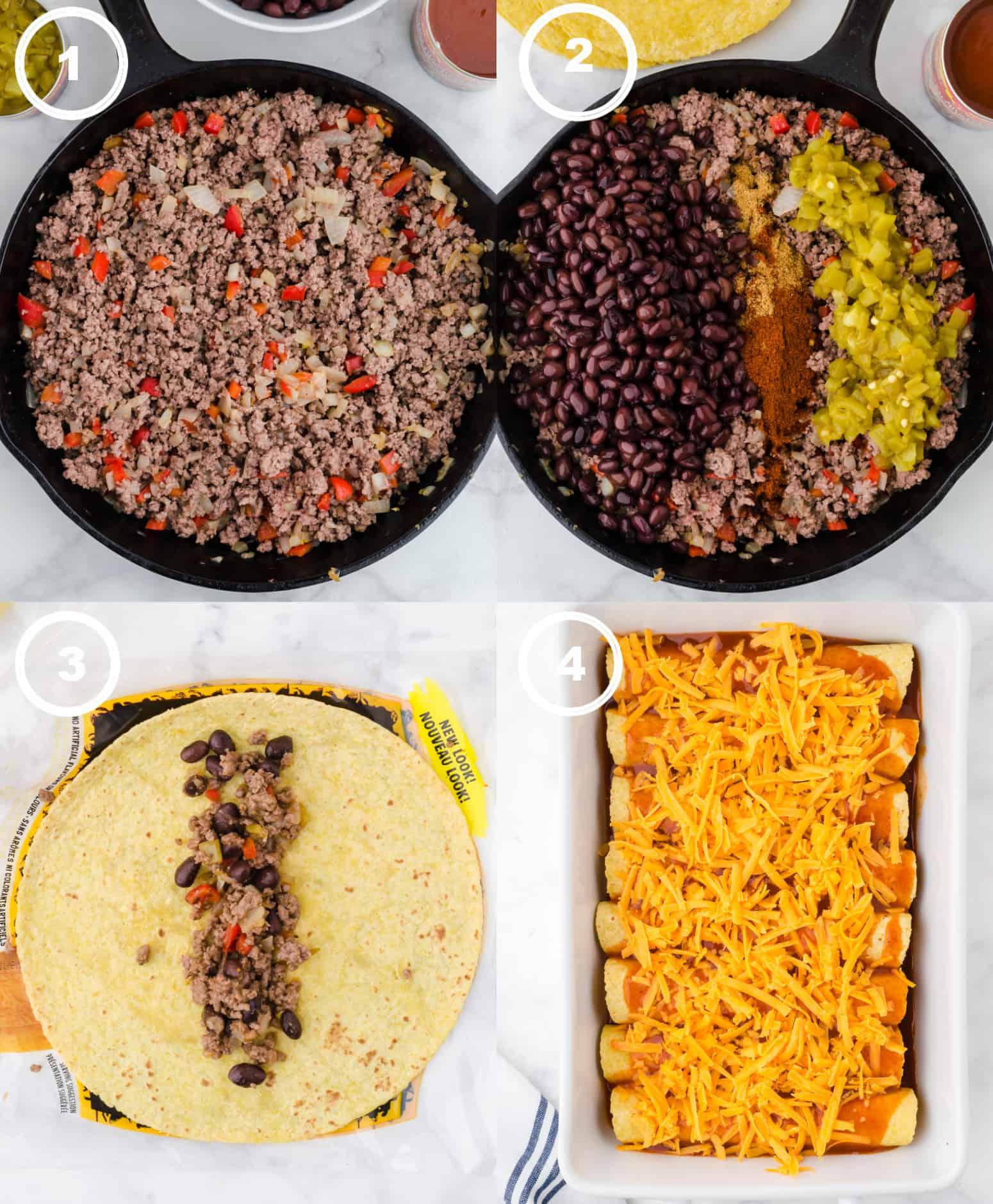 Patru procese foto.  Primele, carne de vită măcinată și ardei gătite într-o tigaie din fontă.  În al doilea rând, fasolea neagră și condimentele adăugate în tigaie.  În al treilea rând, un amestec de carne de vită adăugat la o tortilla de porumb.  În al patrulea rând, enchiladas rulate plasate într-un vas de copt cu sos enchilada și brânză așezată deasupra.