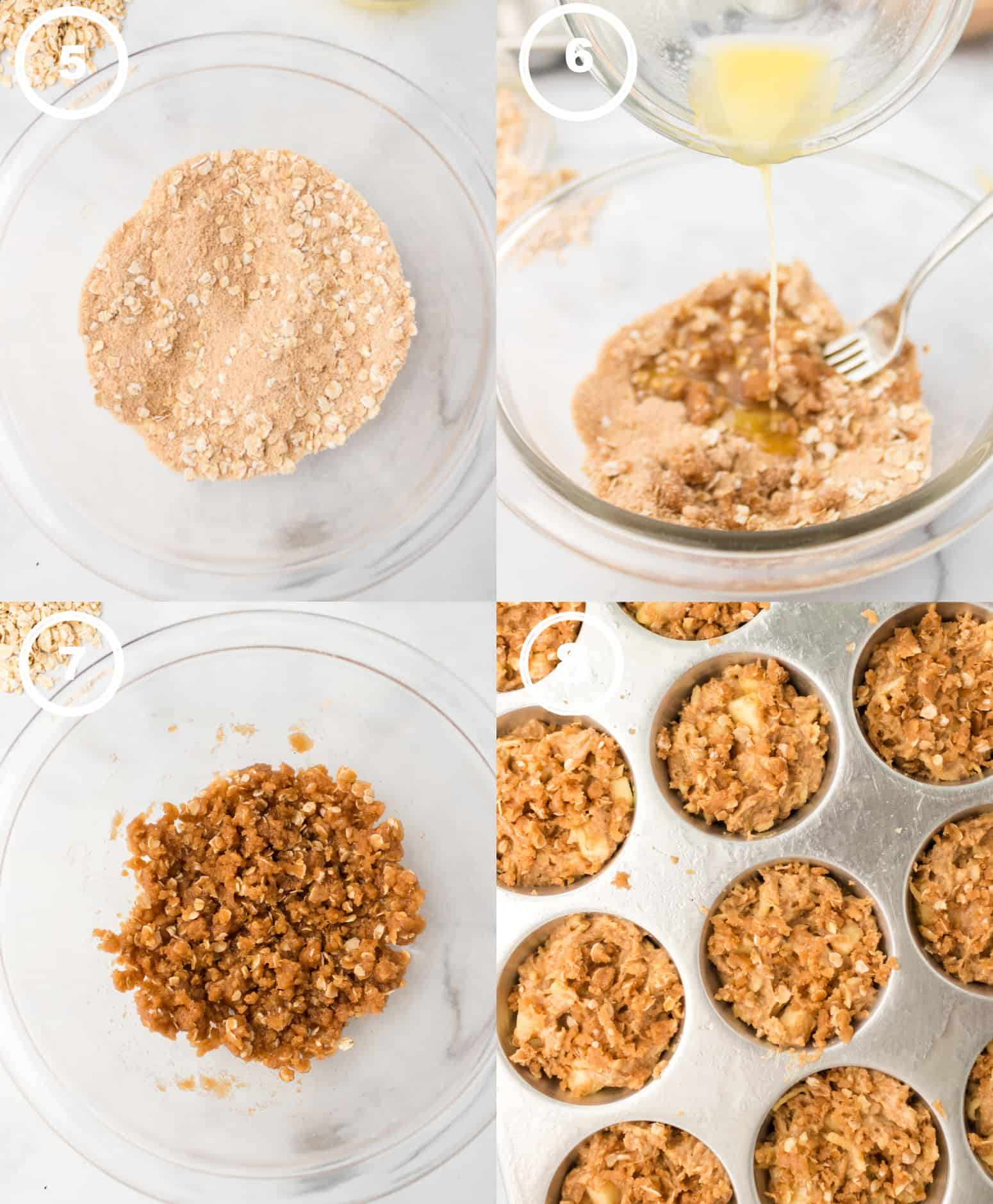 Four process photos. First one, oats in a small bowl, Second one, melted butter poured on top. Third one, crumble mixture all mixed together. Fourth one, crumble placed on top of the muffins.