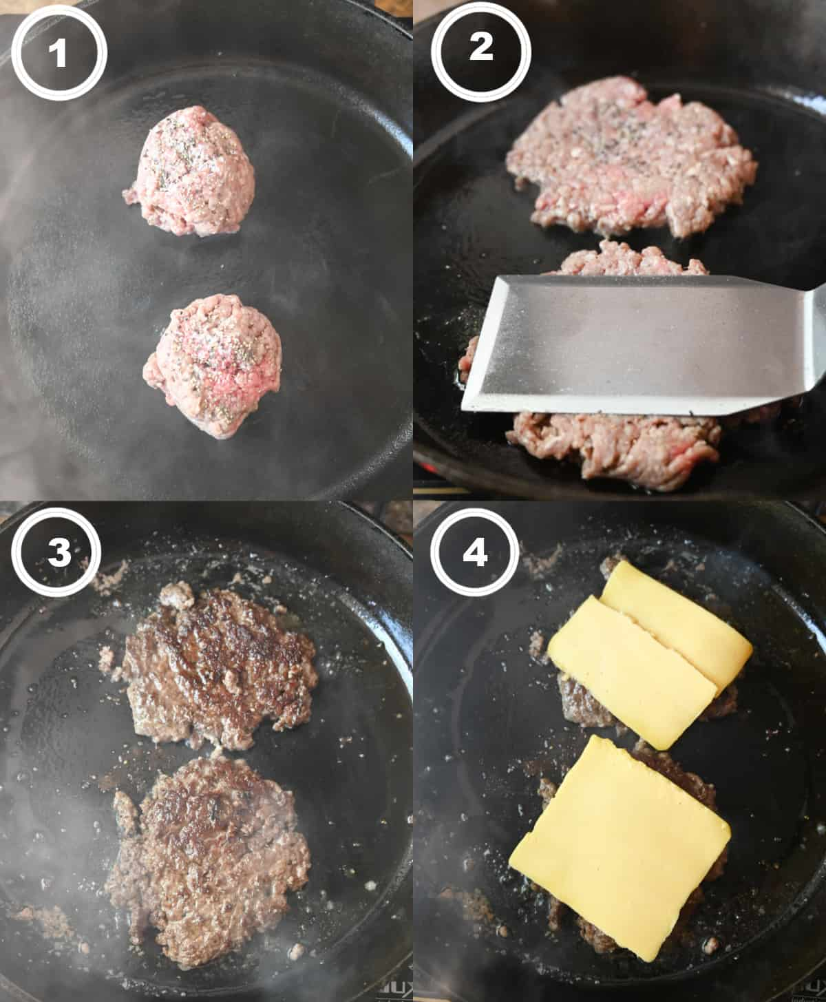 Four process photos. First one, two ground beef balls in a cast iron skillet. Secone one, spatula pressing the meat down, Third one, beef patty that has been flipped in a cast iron skillet. Fourth one, american cheese that has been placed on top.