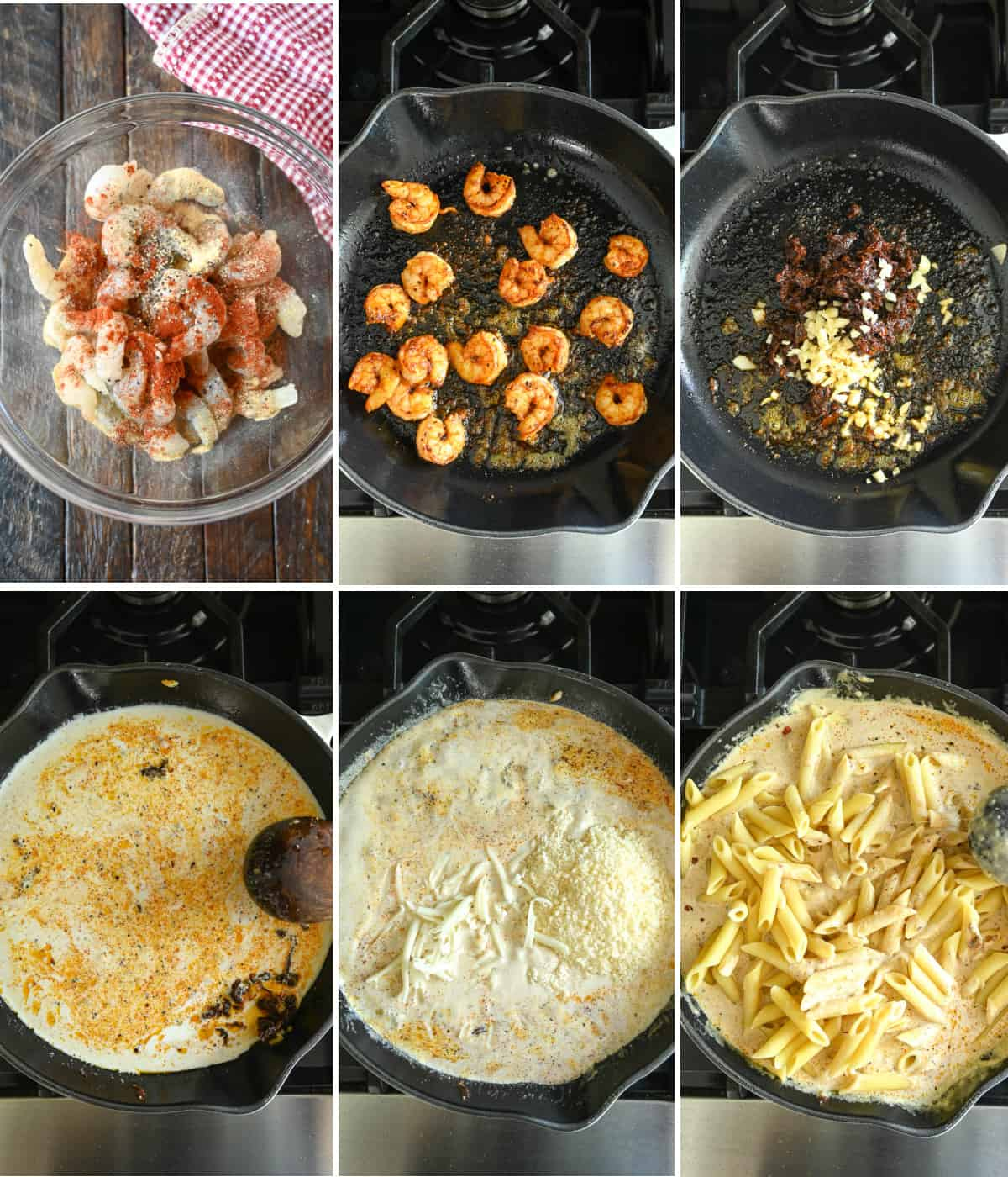Six process photos. First one, raw shrimp in a bowl with seasonings. Secone one, shrimp cooked in a cast iron skillet. Third one, garlic and sun dried tomatoes in the skillet. Fourth one, liquid added to the skillet to simmer. Fifth one, cheeses added to the skillet to melt. Sixth one, cooked pasta added to the skillet.