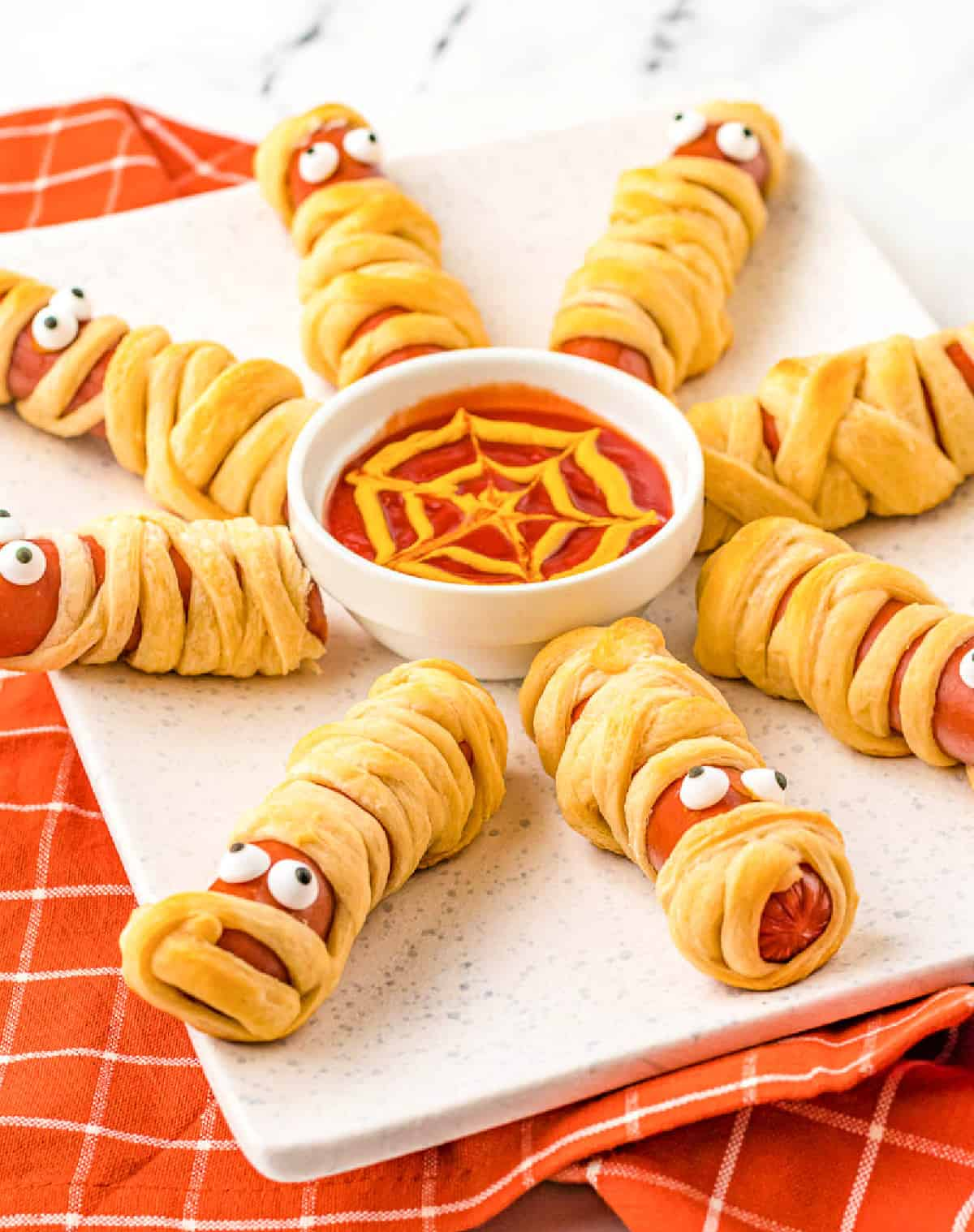 festive mummy hot dogs