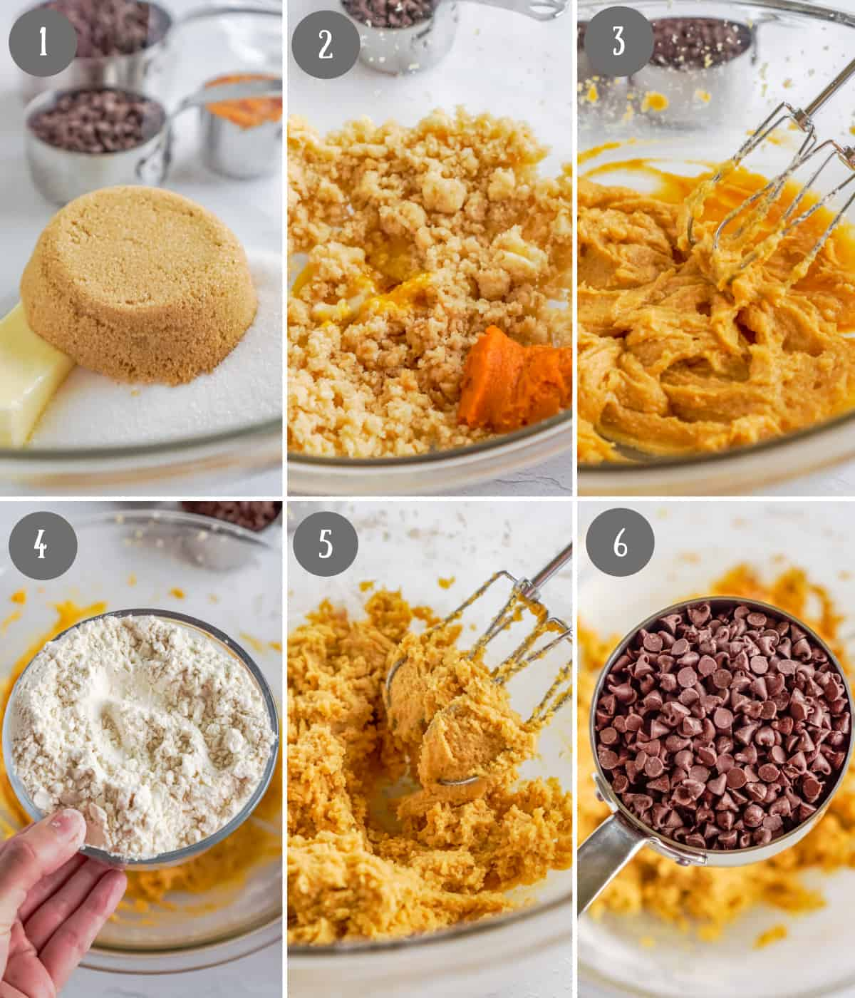 Six process photos. First one, butter and sugars in a bowl. Second one pumpkin added in. Third one, everything mixed together. Fourth one, Flour added in. Fifth one, everything mixed together. Sixth one, chocolate chips going in.