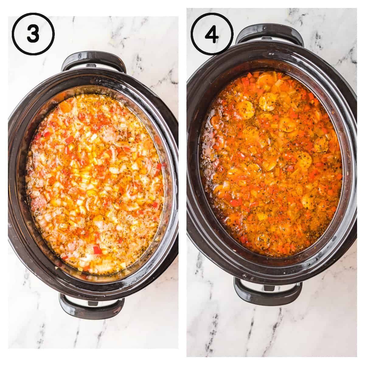 Two process photos. First one all the ingredients stirred together in the slow cooker. Second one, everything cooked and done in the slow cooker.