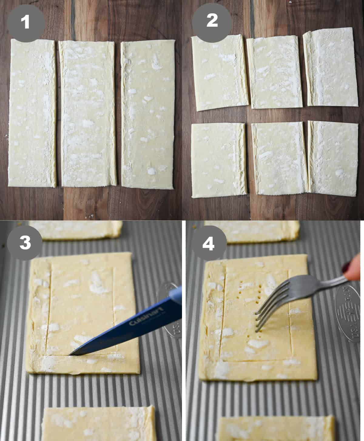 Four process photos. puff pastry cut into three strips. Secone one, three strips cut into six pastry aquares. Third one, a small square being scored in the center. Fourth one, a fork poking holes in the center square.