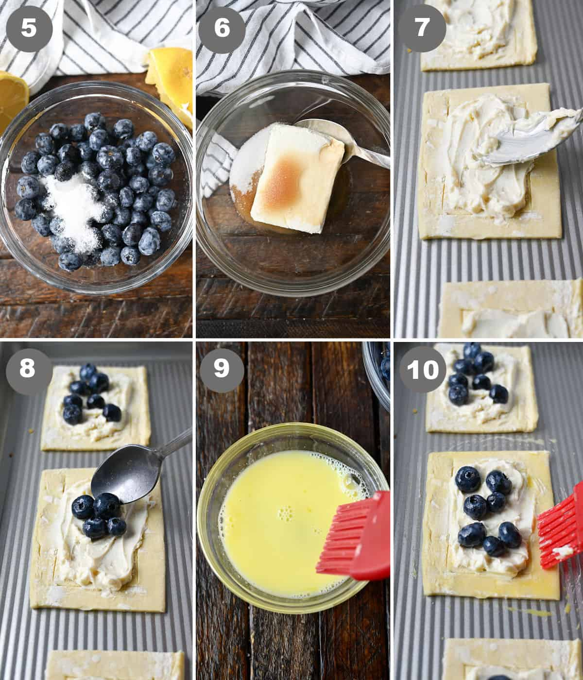 Six process photos. First one a small bowl with fresh blueberries and sugar. Second one, pastry filling ingredients in a bowl ready to be mixed. Third one, cream cheese filling being spread into the center on the pastry. Fourth one, blueberries placed on top of the filling. Fifth one, egg wash in a small bowl with a pastry brush. Sixth one, egg wash being brushed on the edges of the pastry.