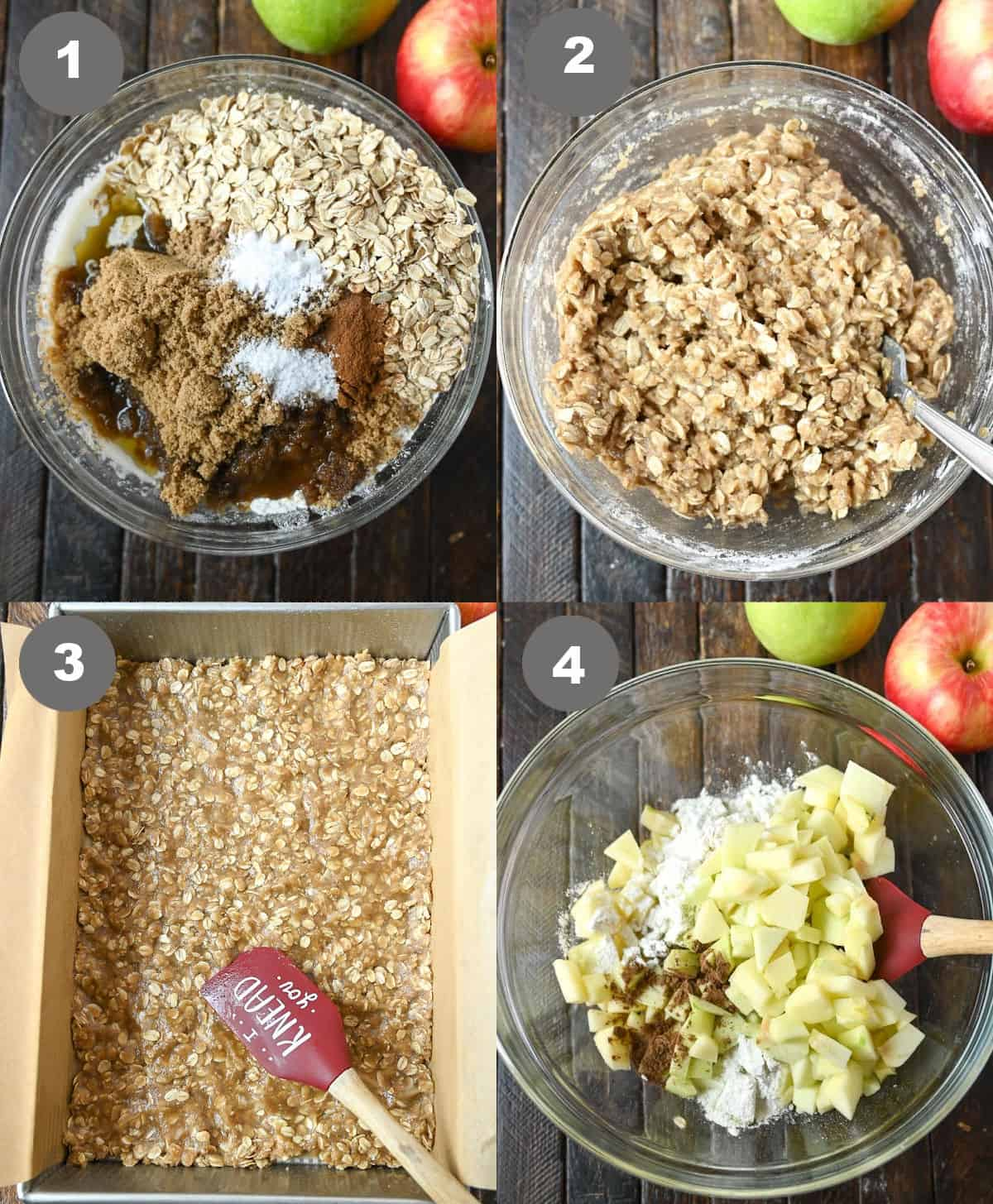 Four process photos. First one, all the dry ingredients for the crust and topping in a bowl. Second crust batter all mixed up. Third one,batter pressed into the bottom of a metal baking pan. Fourth one, apple mixture in a bowl.