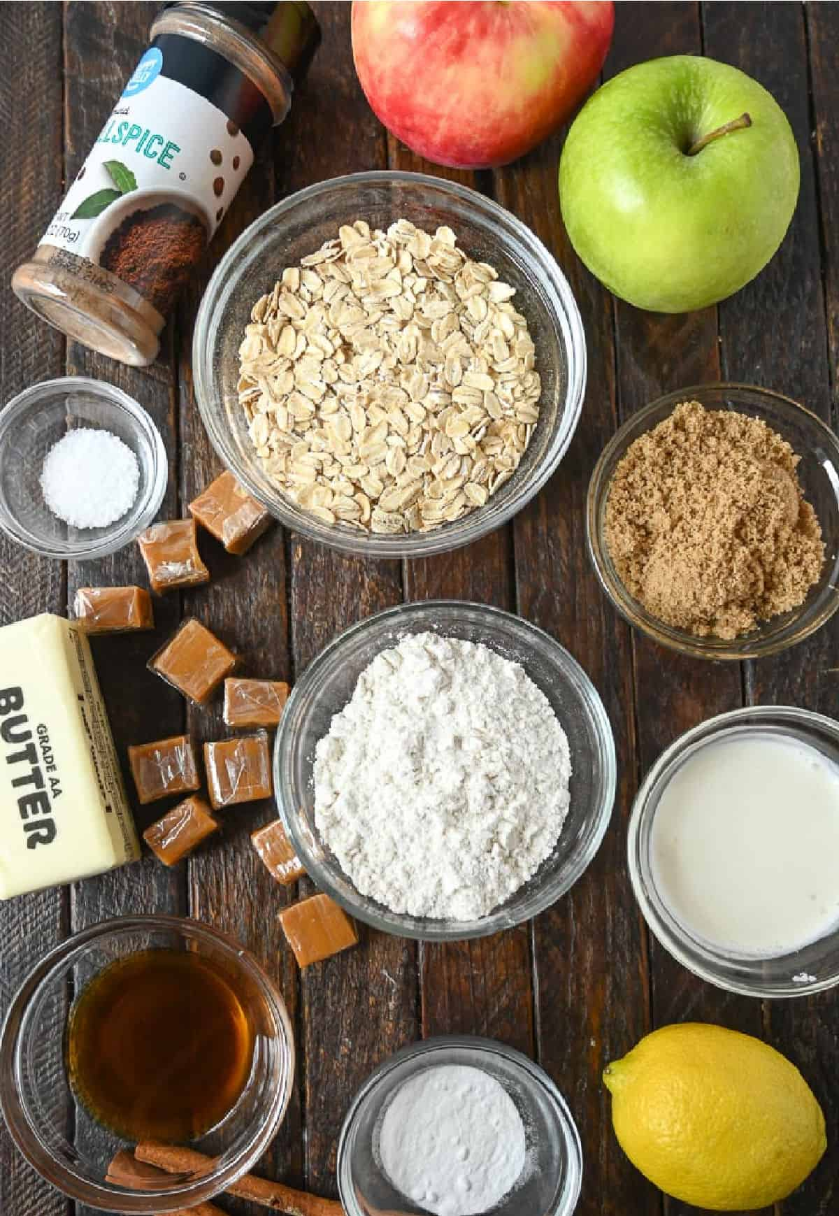 A photo of all the ingredients needed for caramel apple crumble bars.