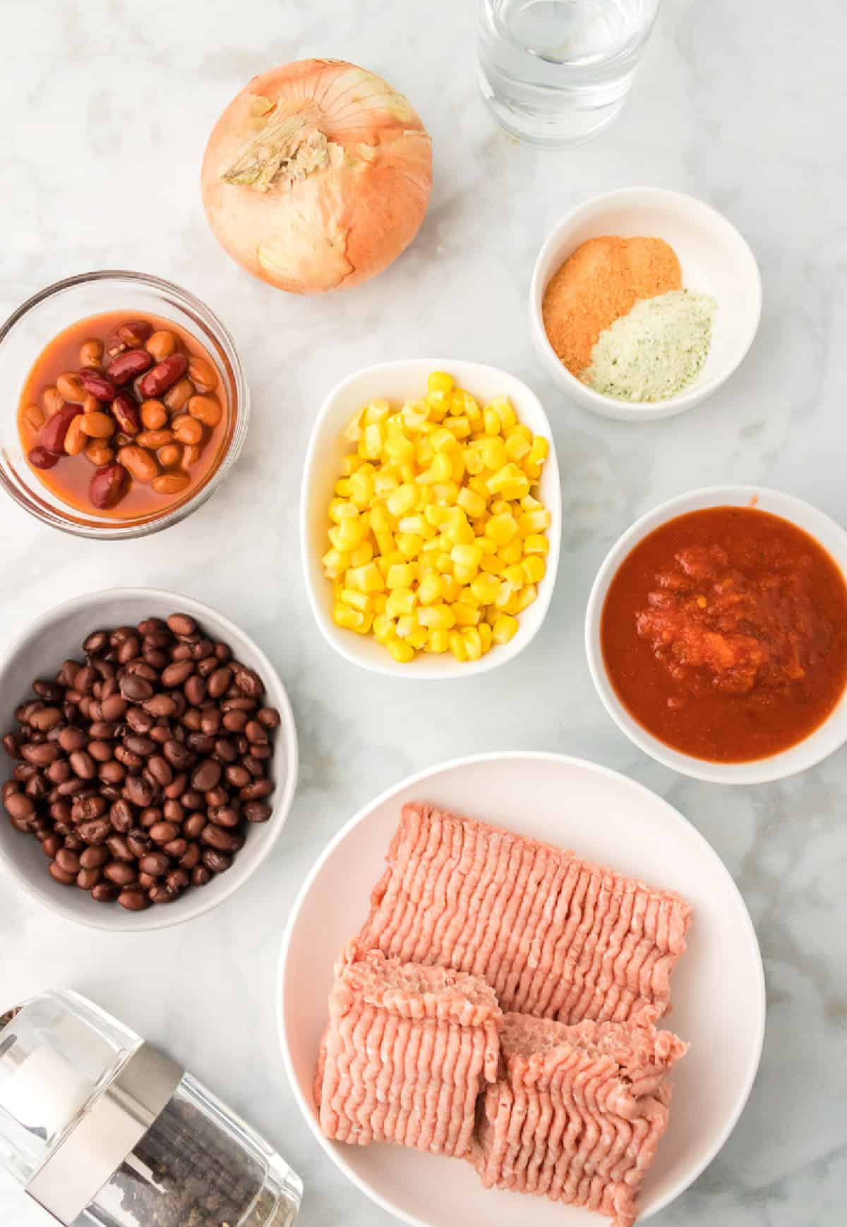 A photo of all the ingredients needed for slow cooker taco soup.