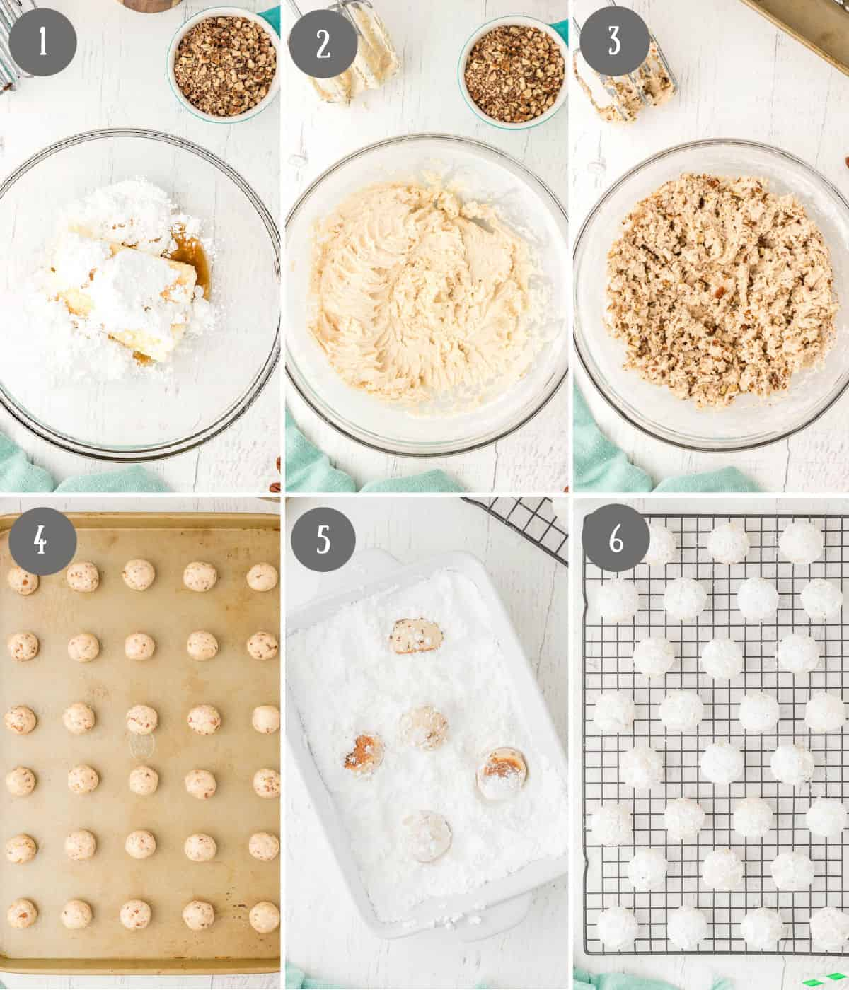 Six process photos. First one, wet ingredients added into a bowl. Second one, wet ingredients blended together. Third one, nuts added in. Third one, cookie dough rolled out into balls. Fourth one, cookie balls tossed in powdered sugar. Sixth one, cookies placed on a baking rack.