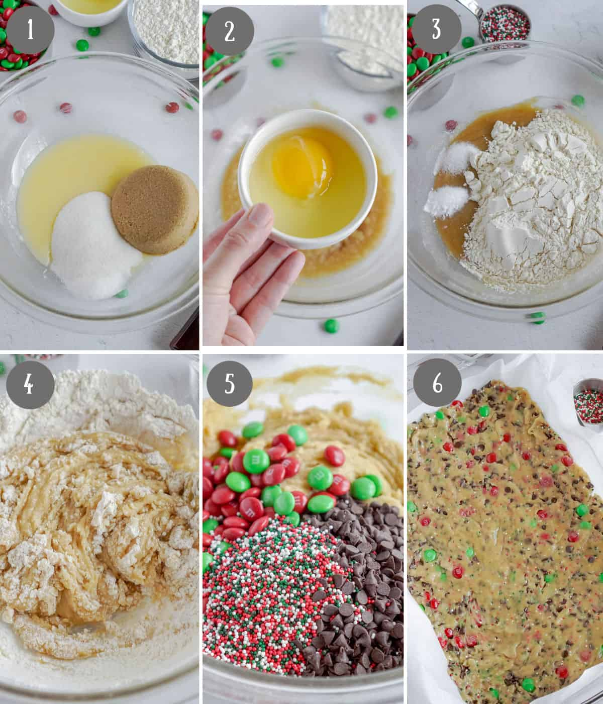 Six process photos. First one, sugars and butter in a bowl. Second one, eggs added in. Third one, dry ingredients added in. Fourth one, batter all mixed together. Fifth one, chocolate being added in. Sixth one, cookie dough pressed in a baking sheet.