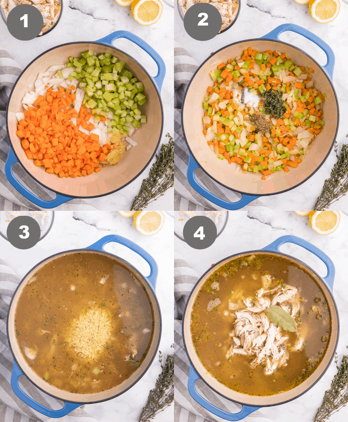 Four process photos. First one, vegetables added to the cast iron pot. Second one, herbs added to the pot. Third one, chicken stock and pasta added to the pot. Fourth one, cooked chicken added to the pot.